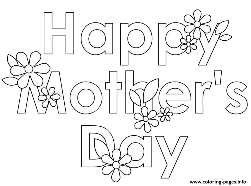Happy Mothers Day Flowers Cute Coloring Pages