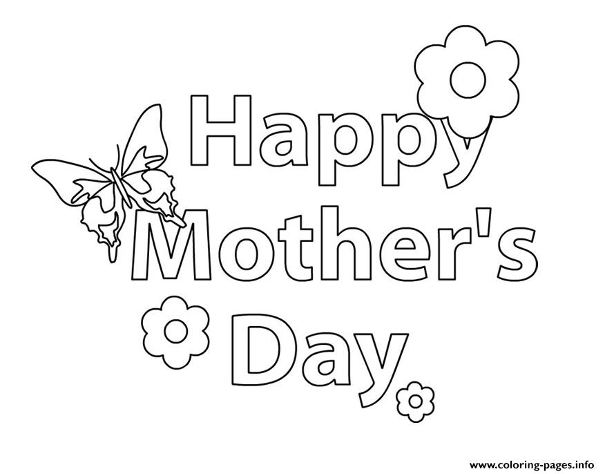 Happy Mothers Day message flower coloring pages