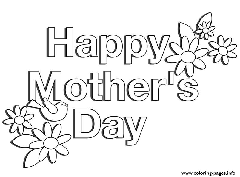 Happy Mothers Day Flowers Simple Easy Coloring Pages Print Download 160 Prints