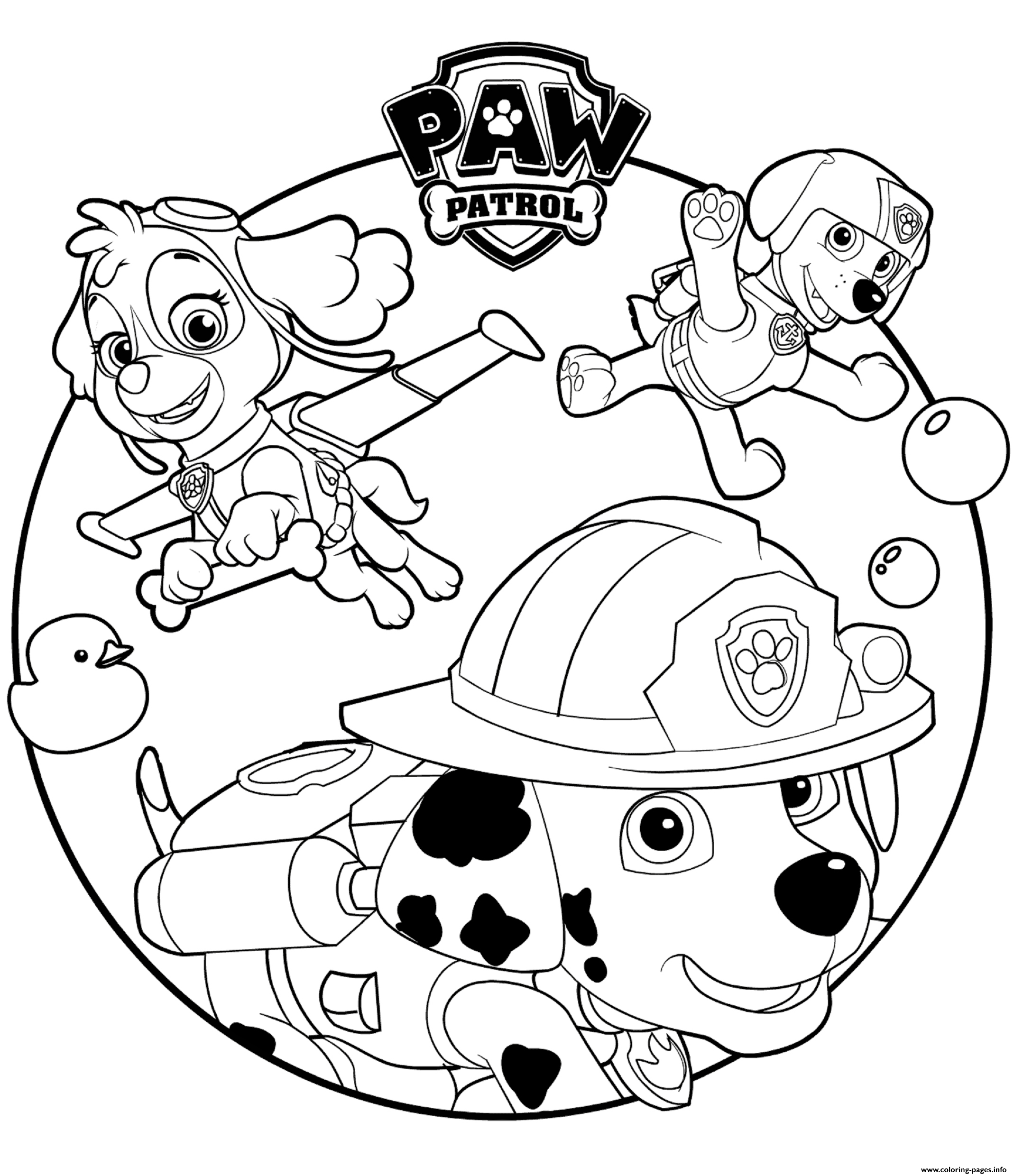 Skye Marshall And Rocky Paw Patrol Coloring Pages Printable