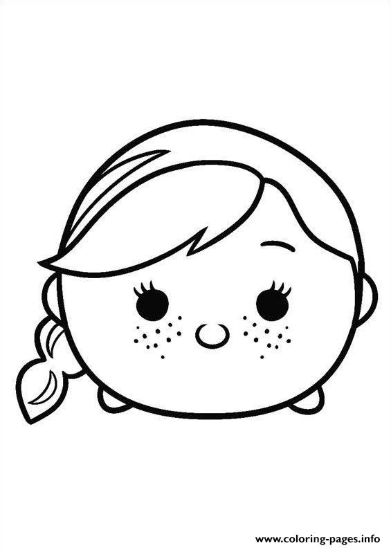 Tsum Tsum Frozen Anna Princess Disney Coloring Pages Printable
