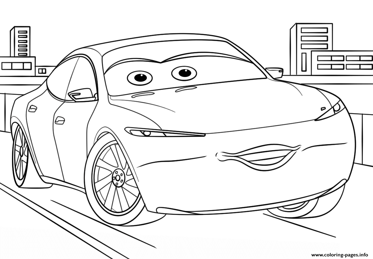 Natalie Certain From Cars 3 Disney Coloring Pages Printable