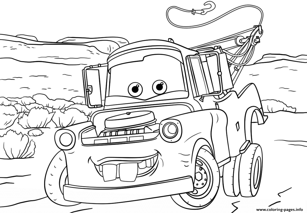 Tow mater from cars 3 disney coloring pages printable for Cars three coloring pages