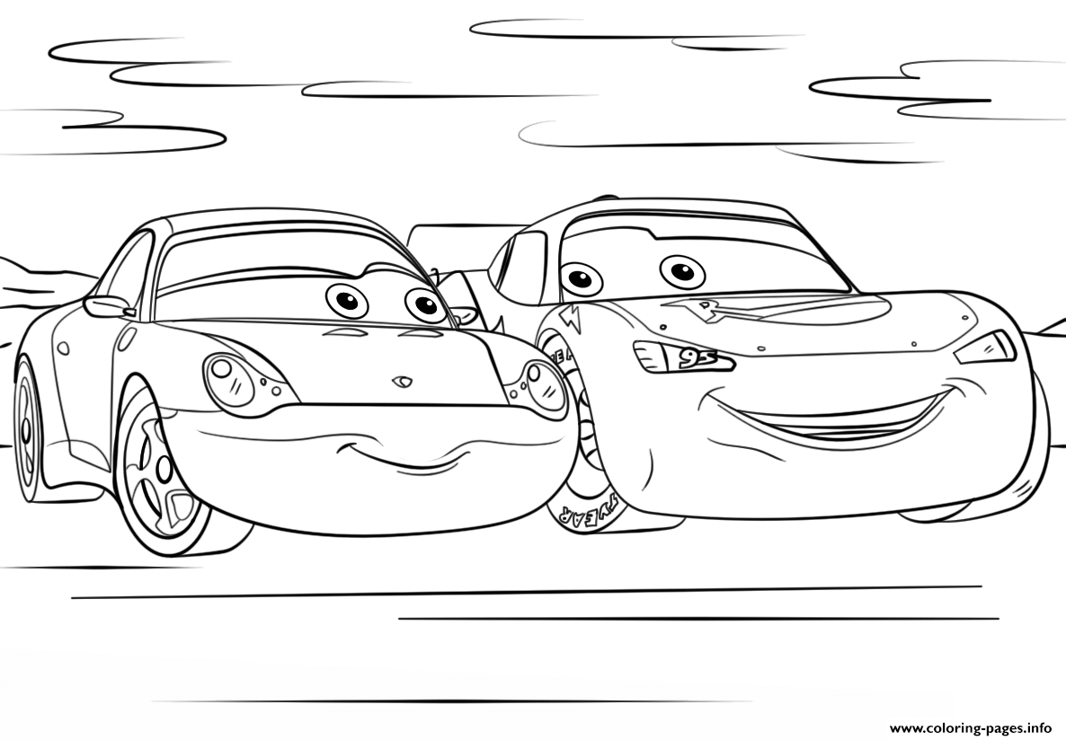 Lightning Mcqueen And Sally From Cars 3 Disney Coloring Pages Printable