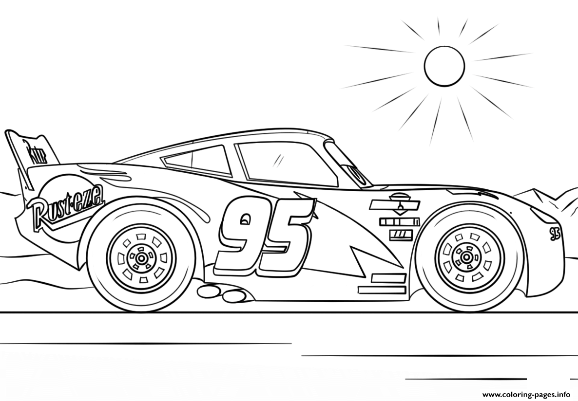 Lightning Mcqueen From Cars 4 Disney Coloring Pages Printable
