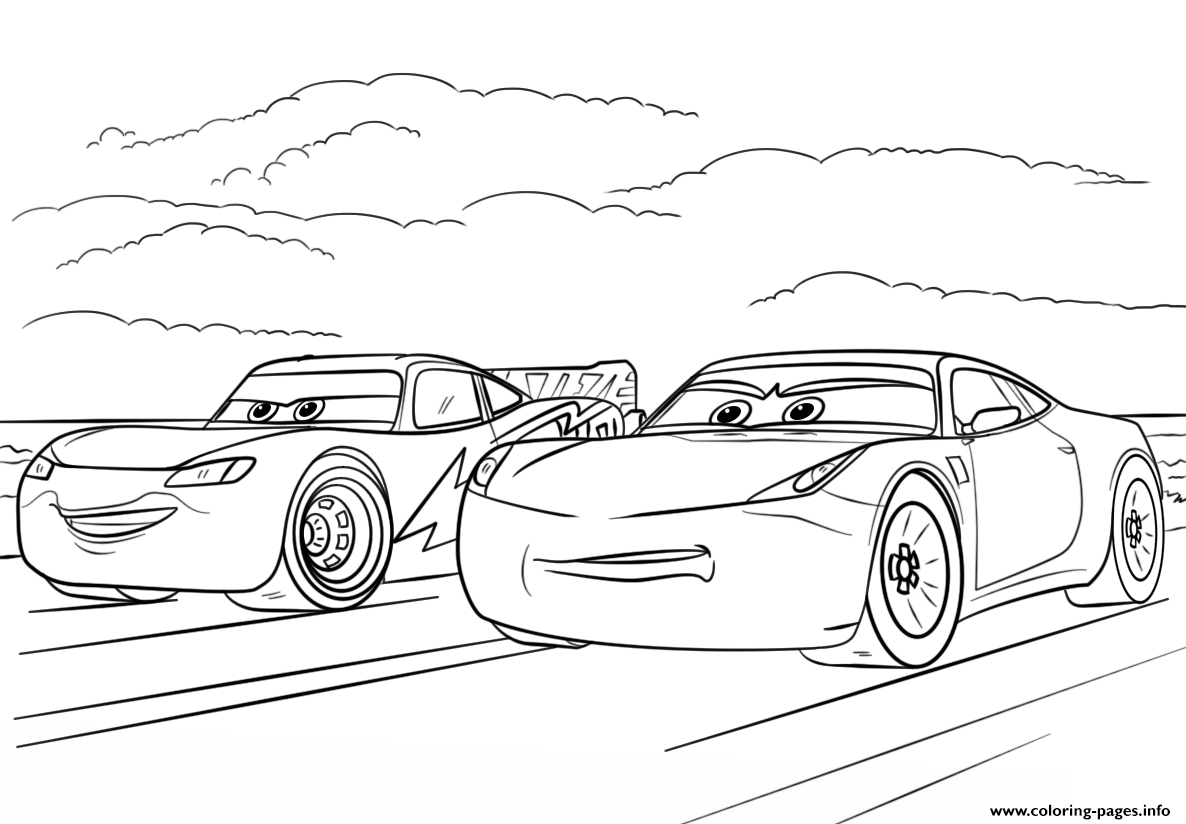 Mcqueen And Ramirez From Cars 3 Disney Coloring Pages Printable