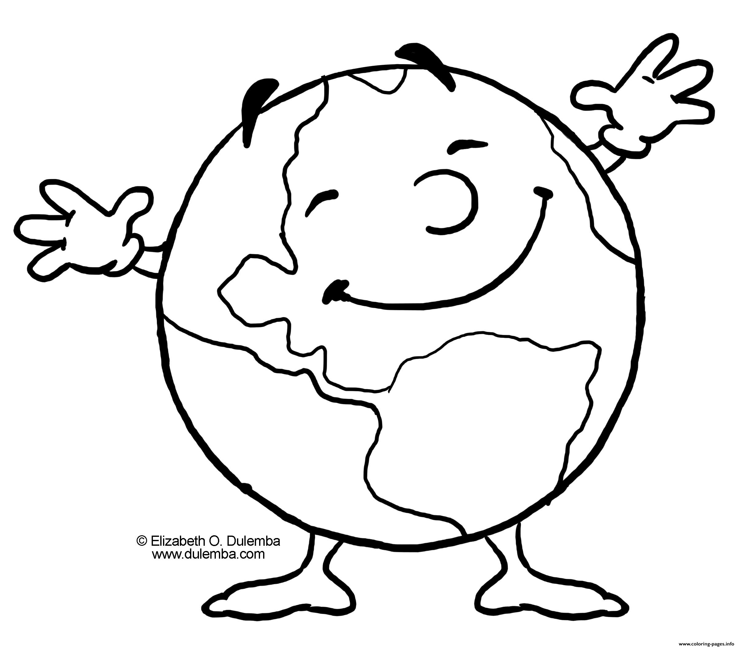 Earth Happy Day Smile Coloring Pages