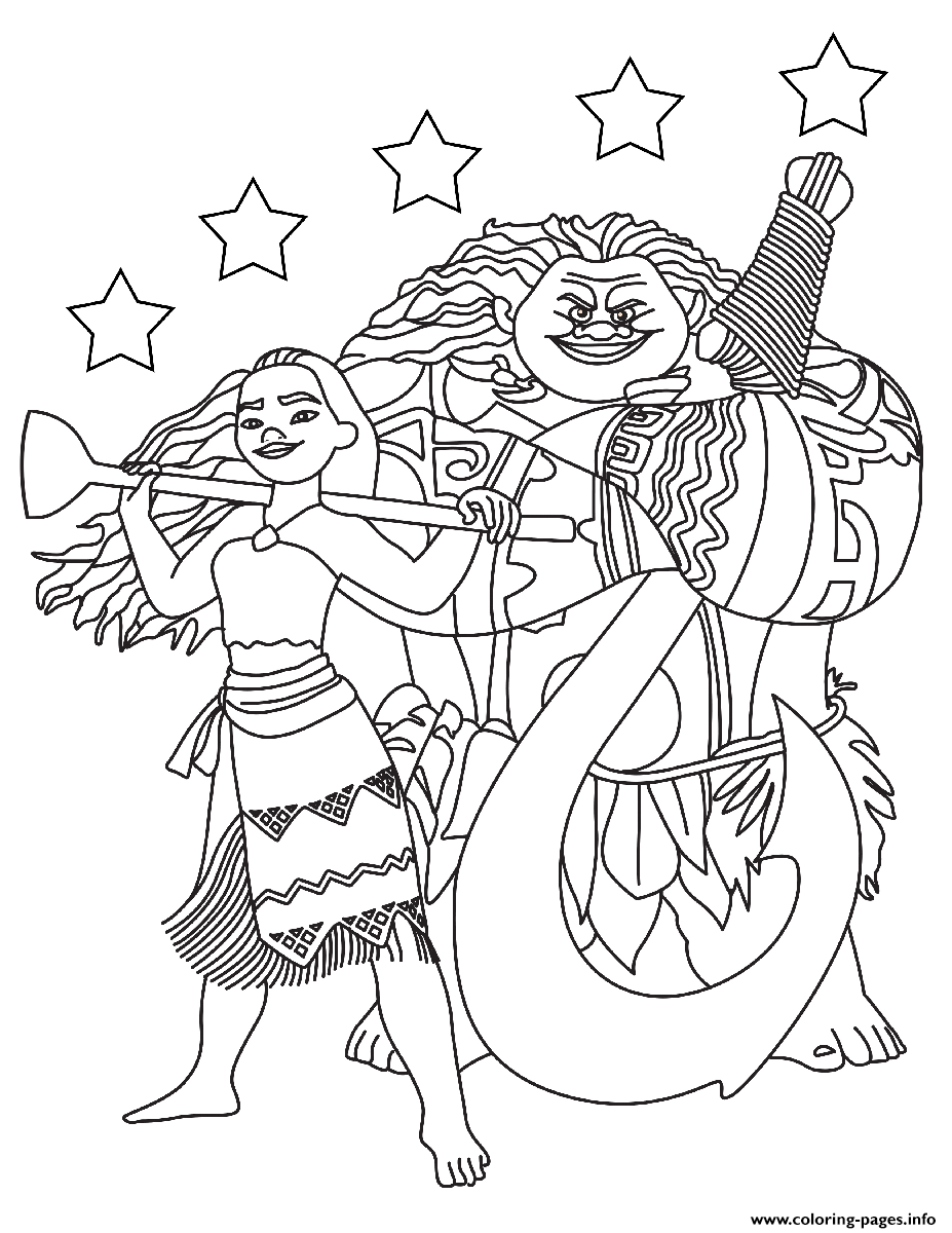 moana maui with the stars coloring pages printable