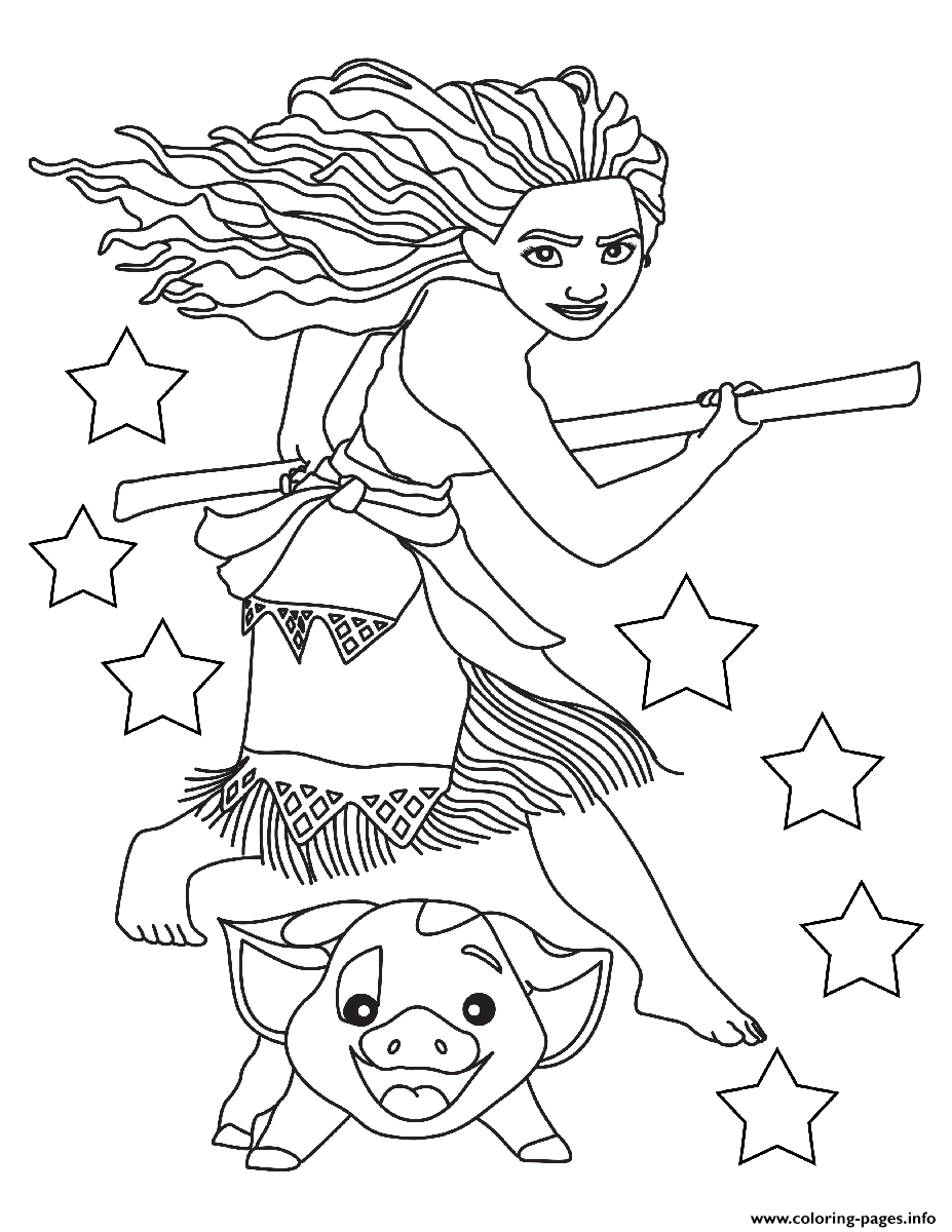 Moana And Pig Ready coloring pages