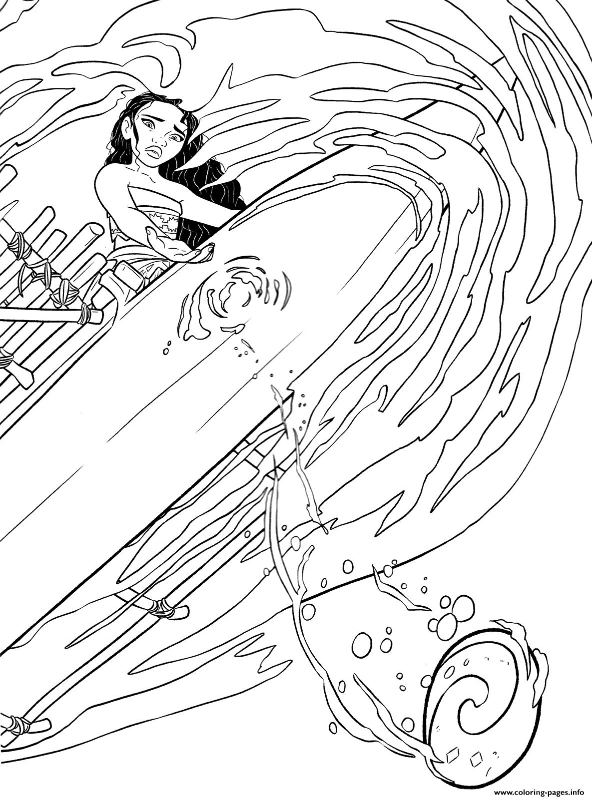 Moana Disney On A Ship Coloring
