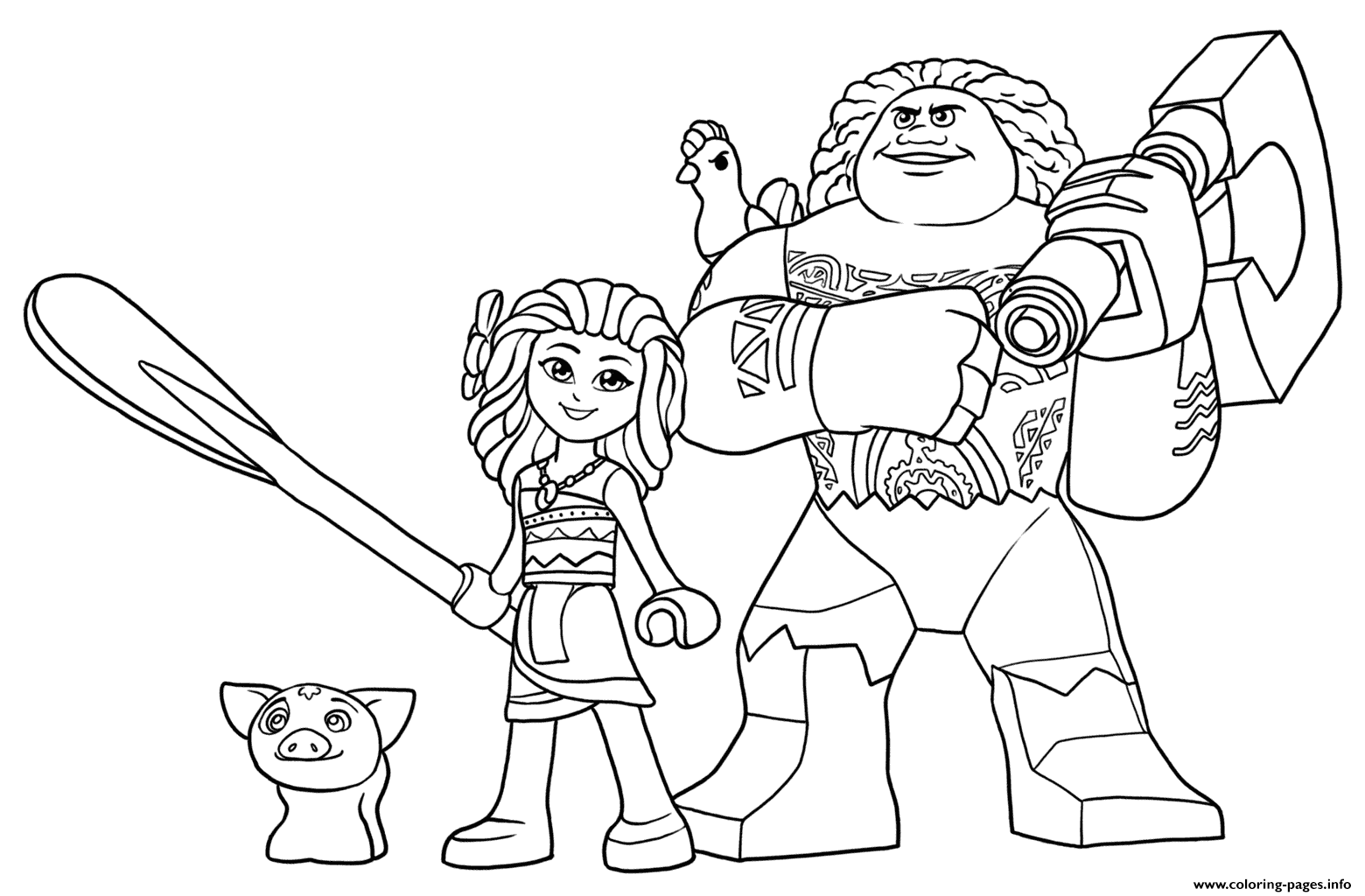 LEGO Moana And Maui Coloring Pages