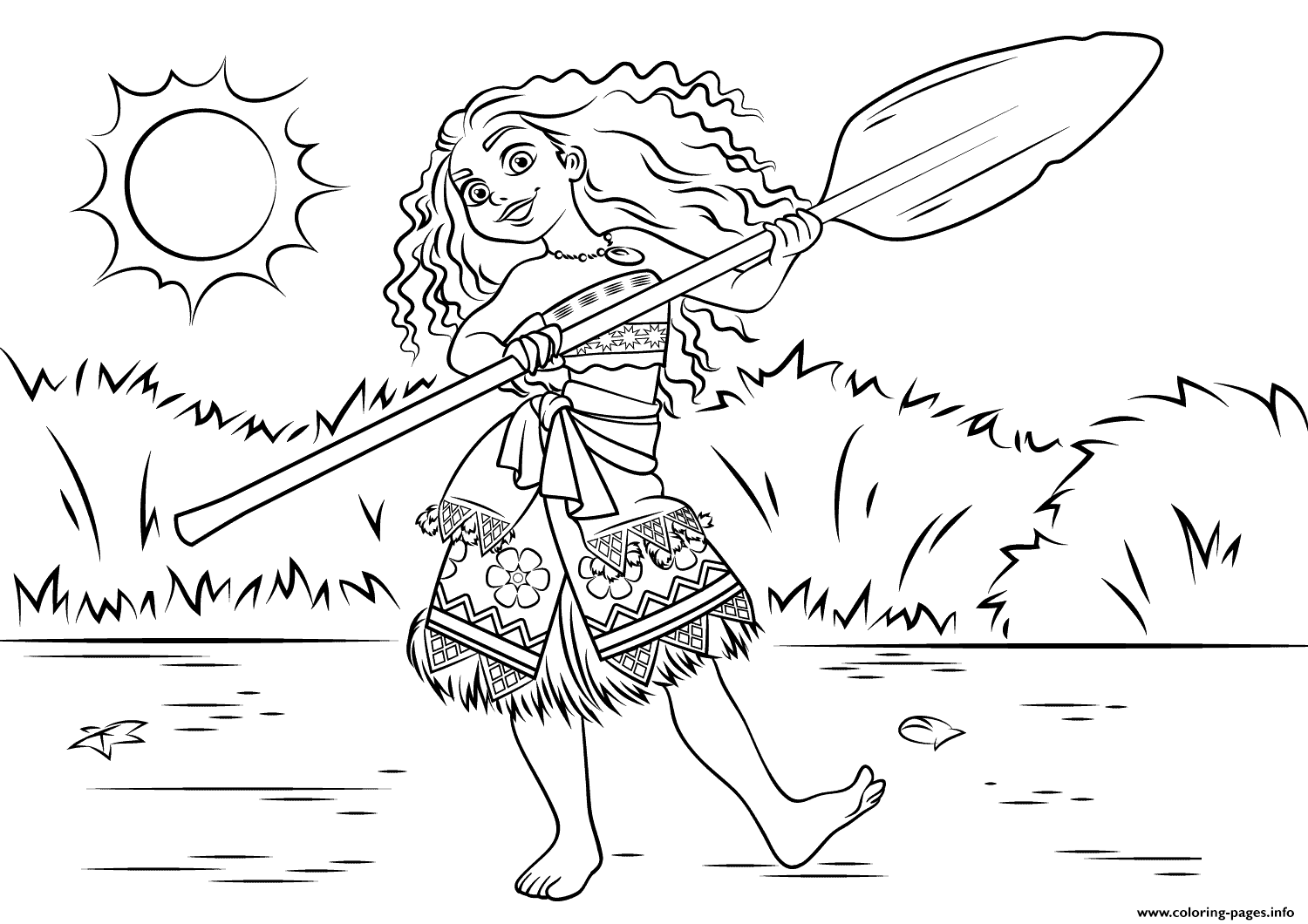 Princess Moana Waialiki Having Fun coloring pages