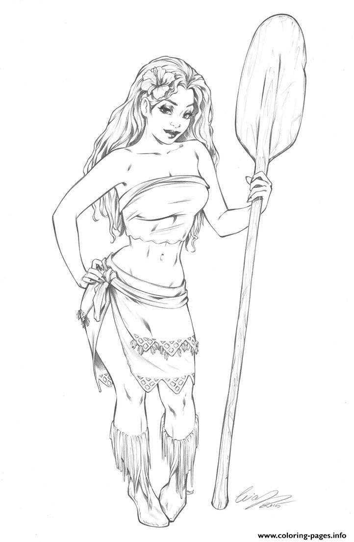Moana Disney Princess Adult Fan Art Coloring Pages Printable