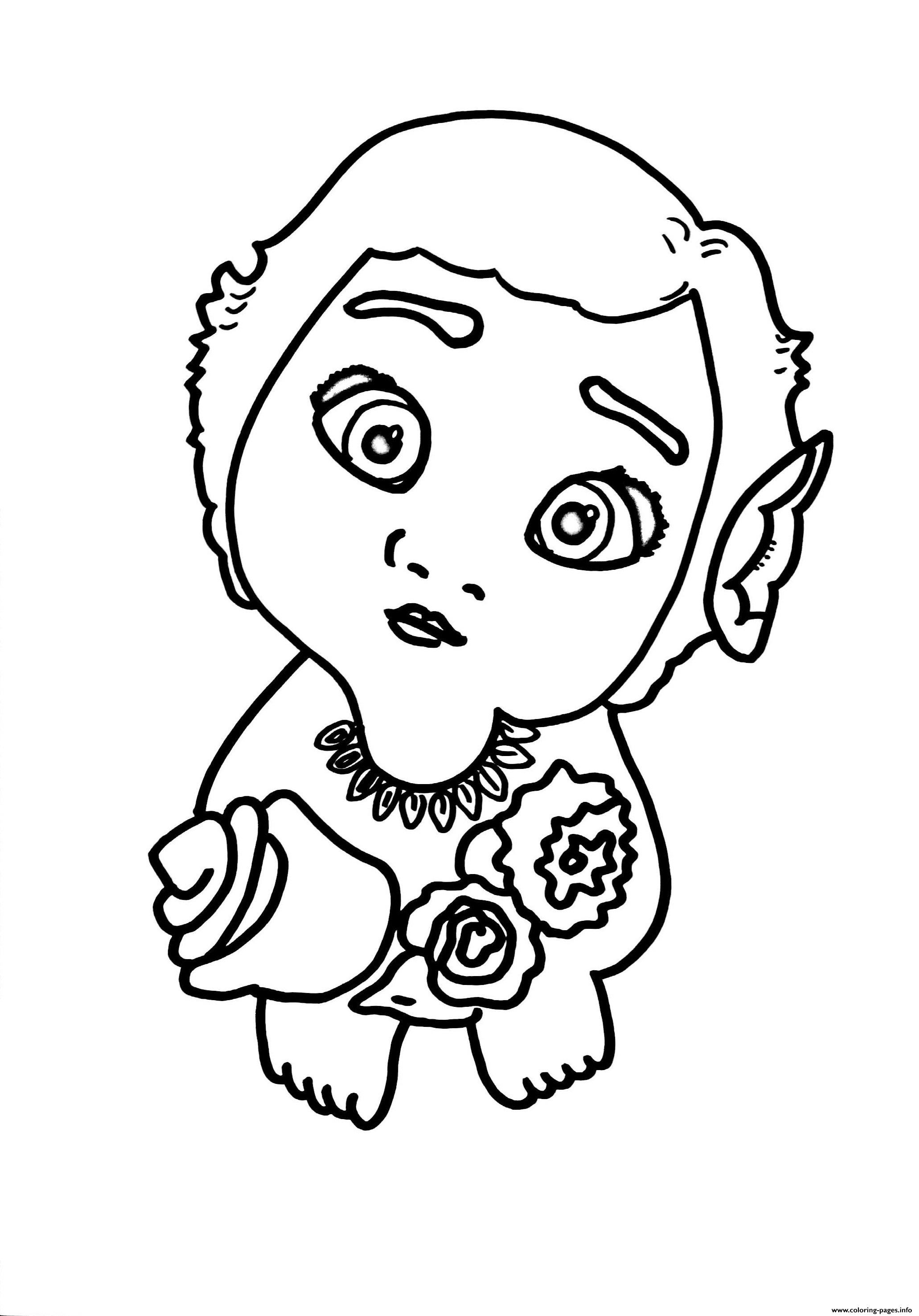 baby moana with flowers coloring pages printable