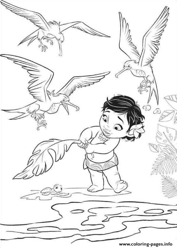 Moana Baby With Birds coloring pages