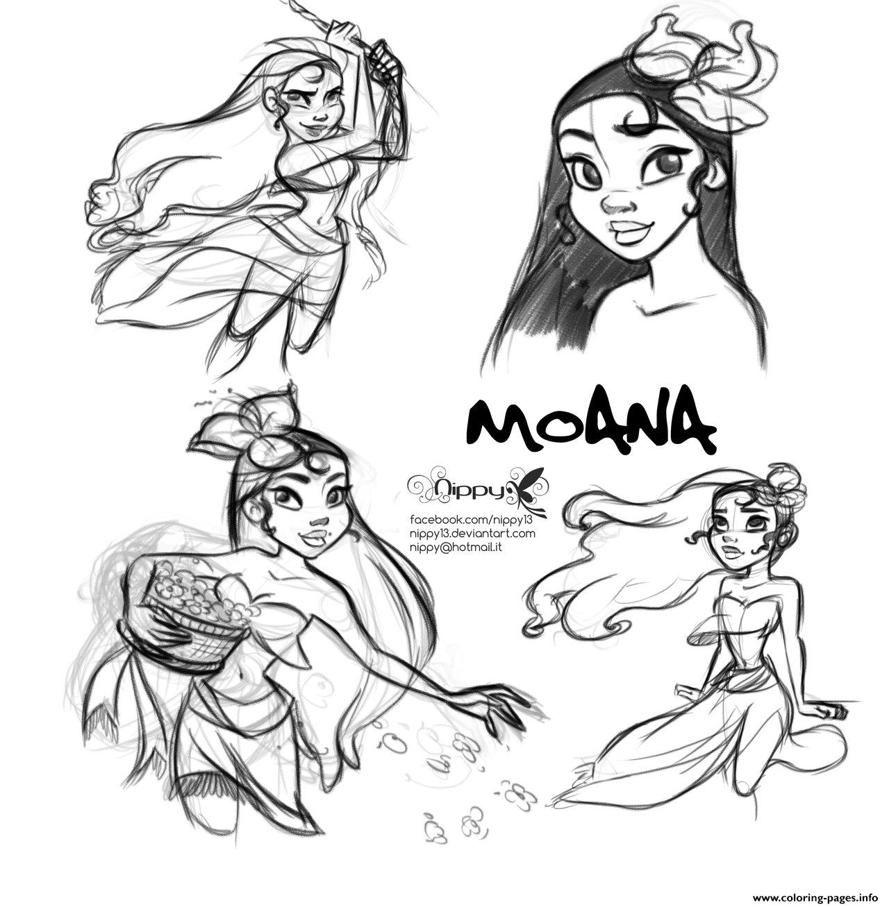 Moana Disney Princess Fan Art coloring pages