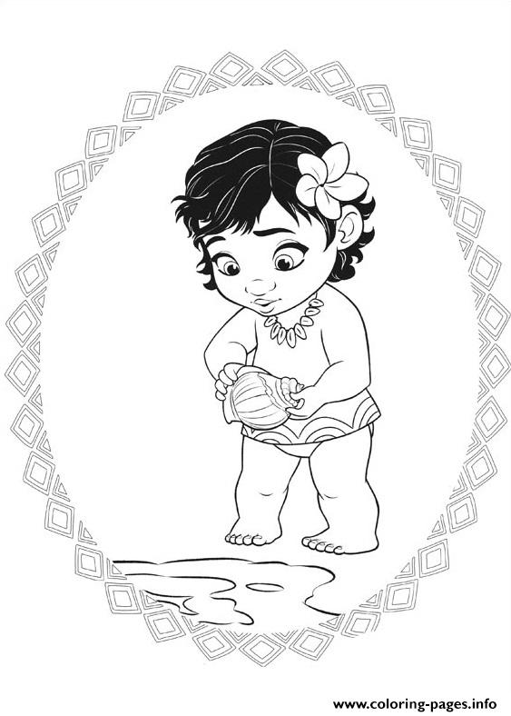 Moana Little Baby Princess Coloring Pages Printable