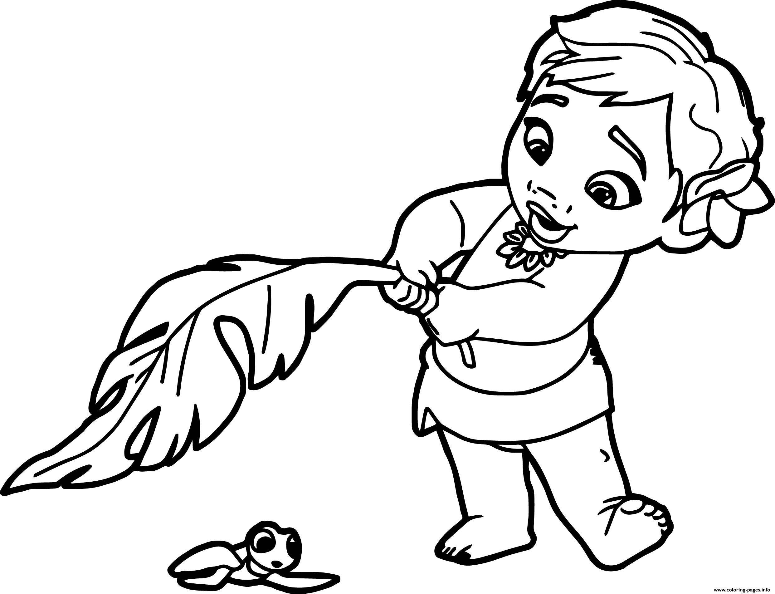 Baby Moana Princess Disney Coloring Pages Print Download