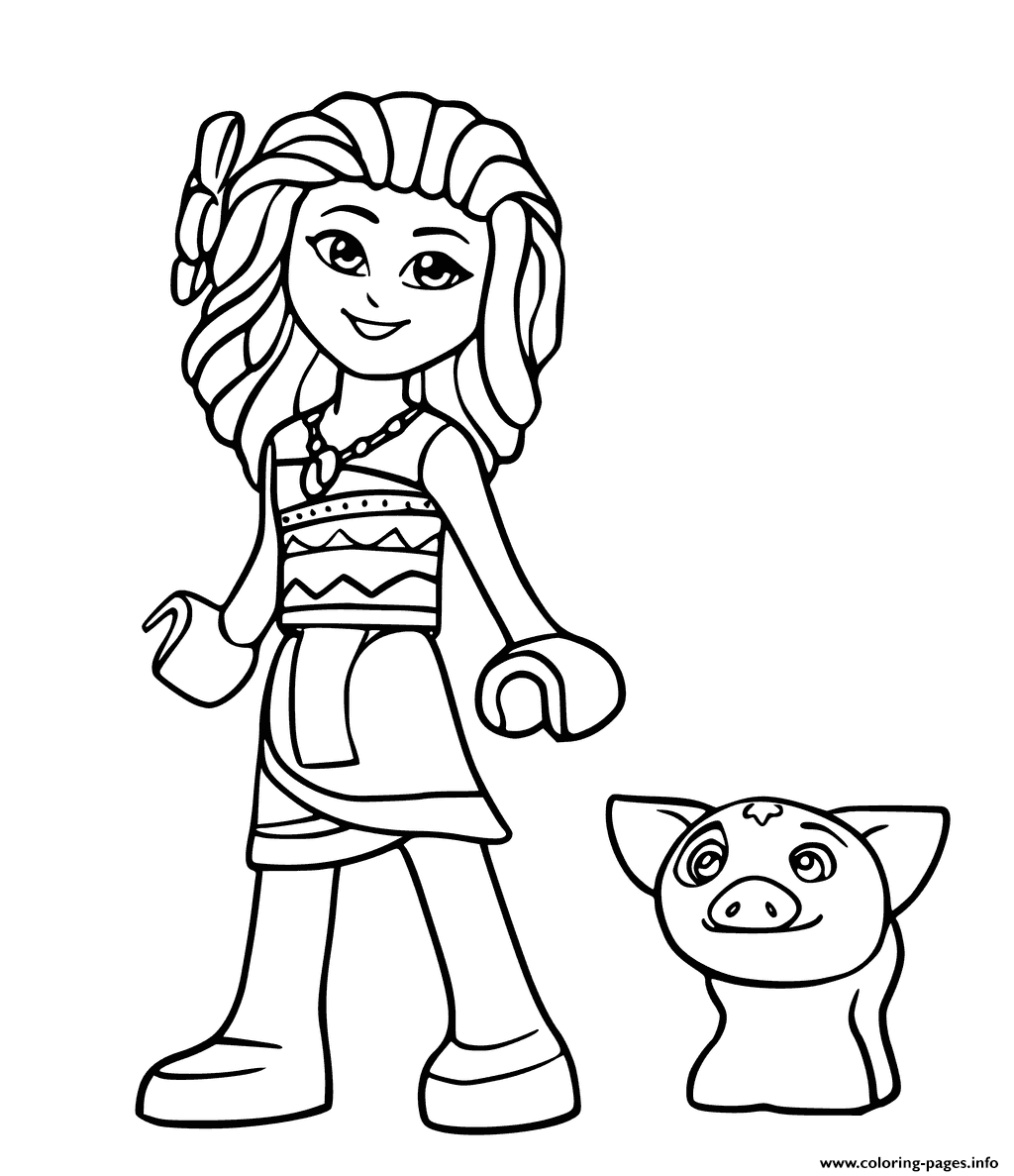 Lego Moana And Pig Pua From Disney coloring pages