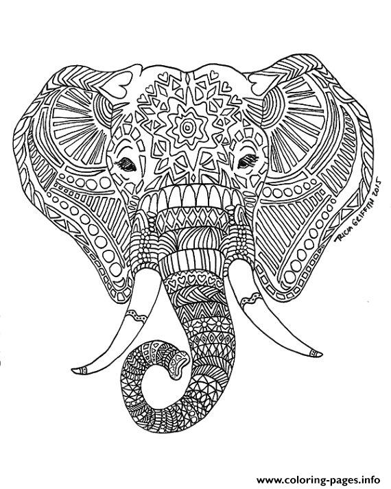 Best Adult Printable Elephant Difficult Hard Zen Coloring