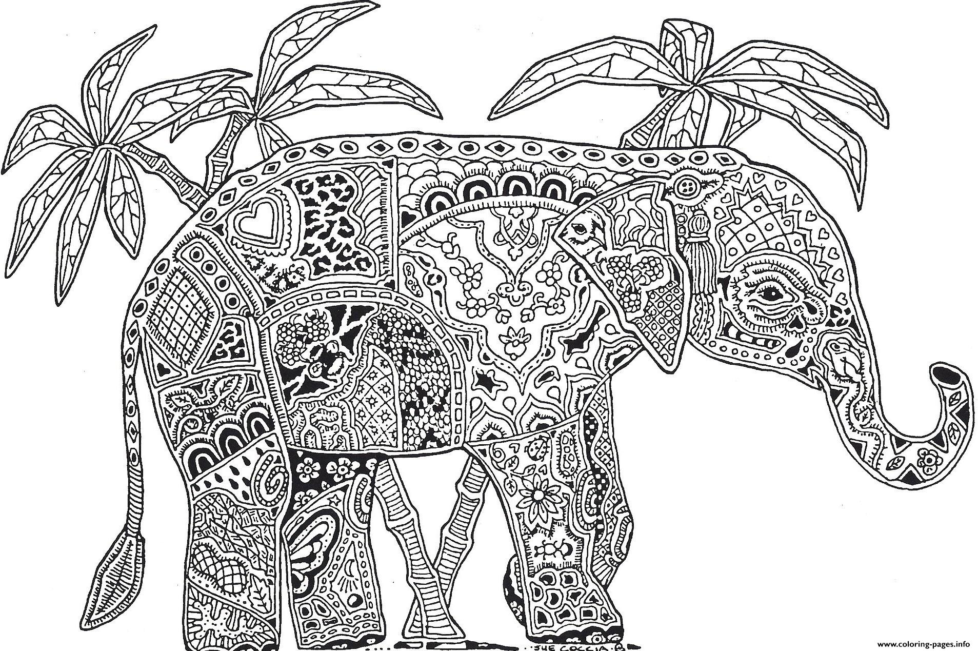 Elephant Adults Hard Difficult Coloring Pages Coloring Pages Printable