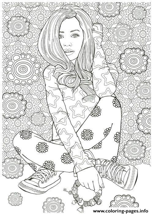 Woman Hard Adult Detailed Model Illustration Coloring Pages Printable