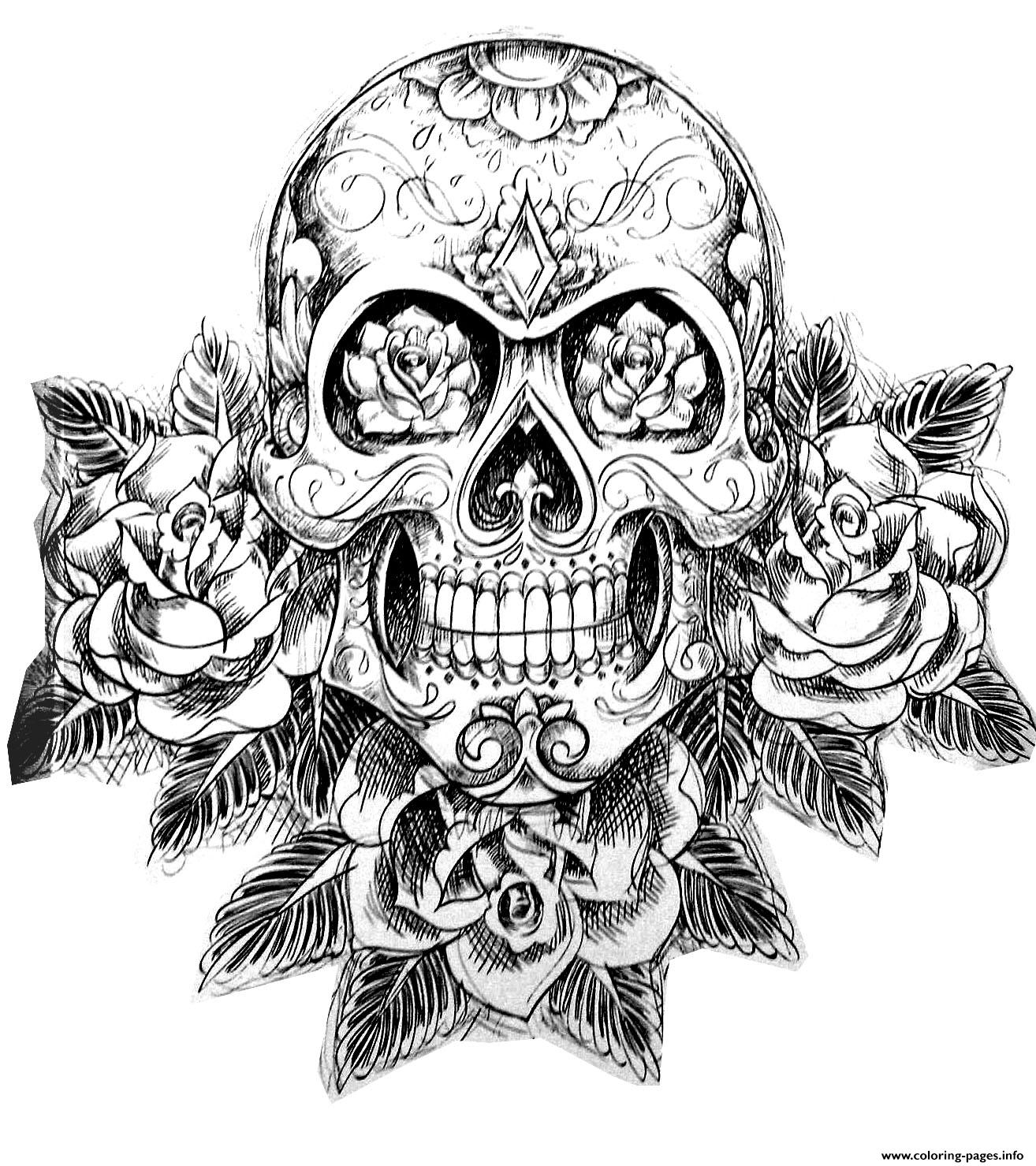 sugar skull tatoo hard adult difficult coloring pages - Printable Difficult Coloring Pages