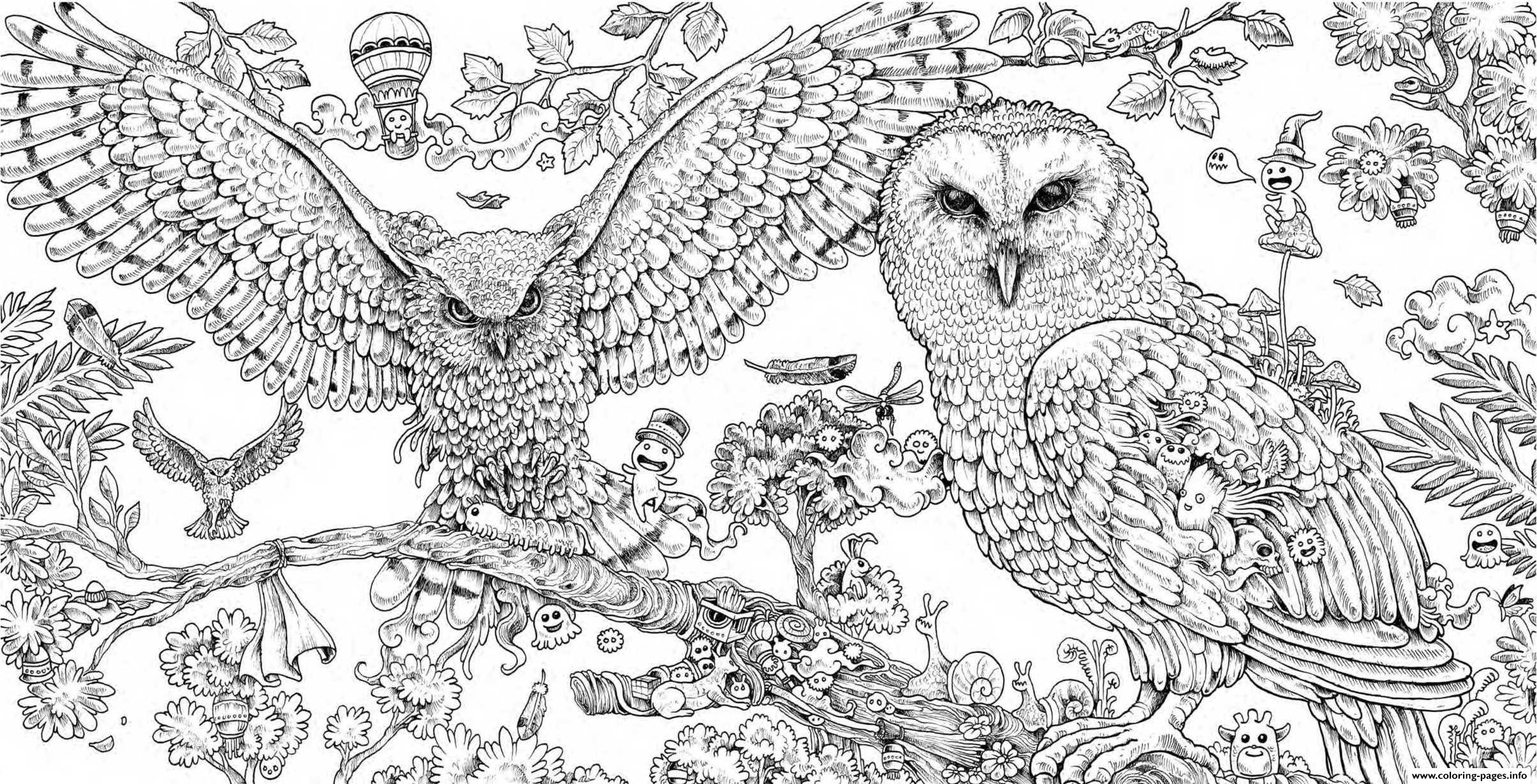 hard animal coloring pages Animorphia Owls Hard Adult Animal Coloring Pages Printable hard animal coloring pages