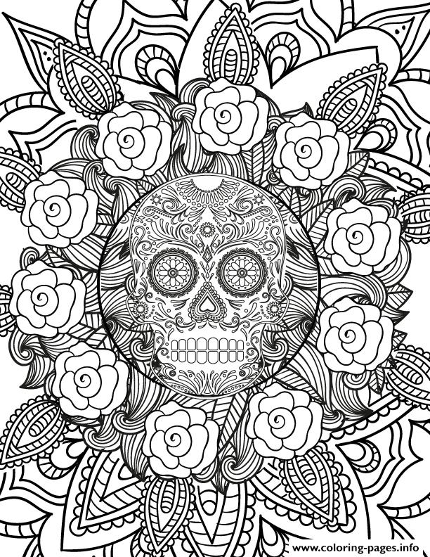 Adult Halloween Hard Sugar Skull Flowers Coloring Pages