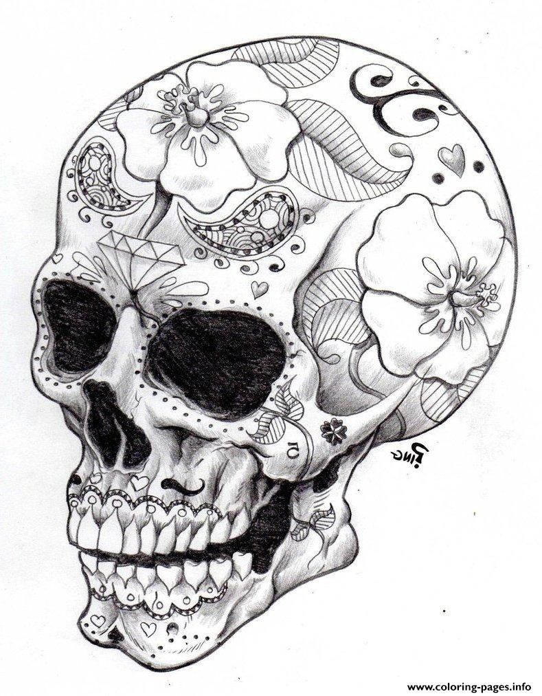 Real Sugar Skull Precision Hd Hard Coloring Pages Printable