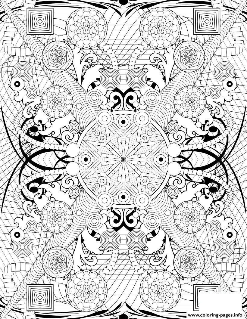 Rosette Intricate Patterns Hard Adult Coloring Pages Printable