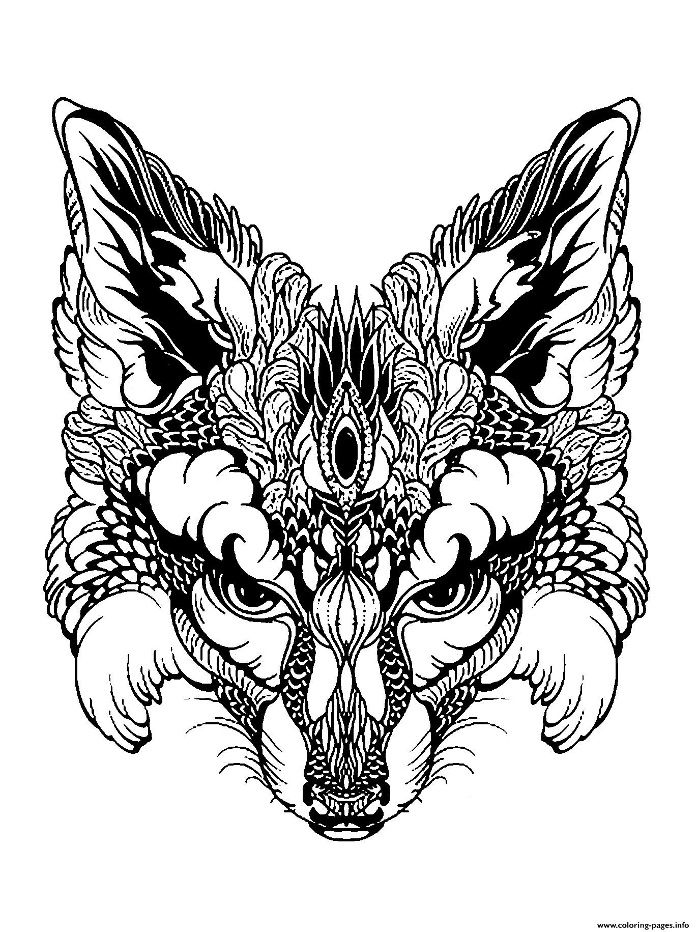 Advanced Animal Fox Head Coloring Pages Printable