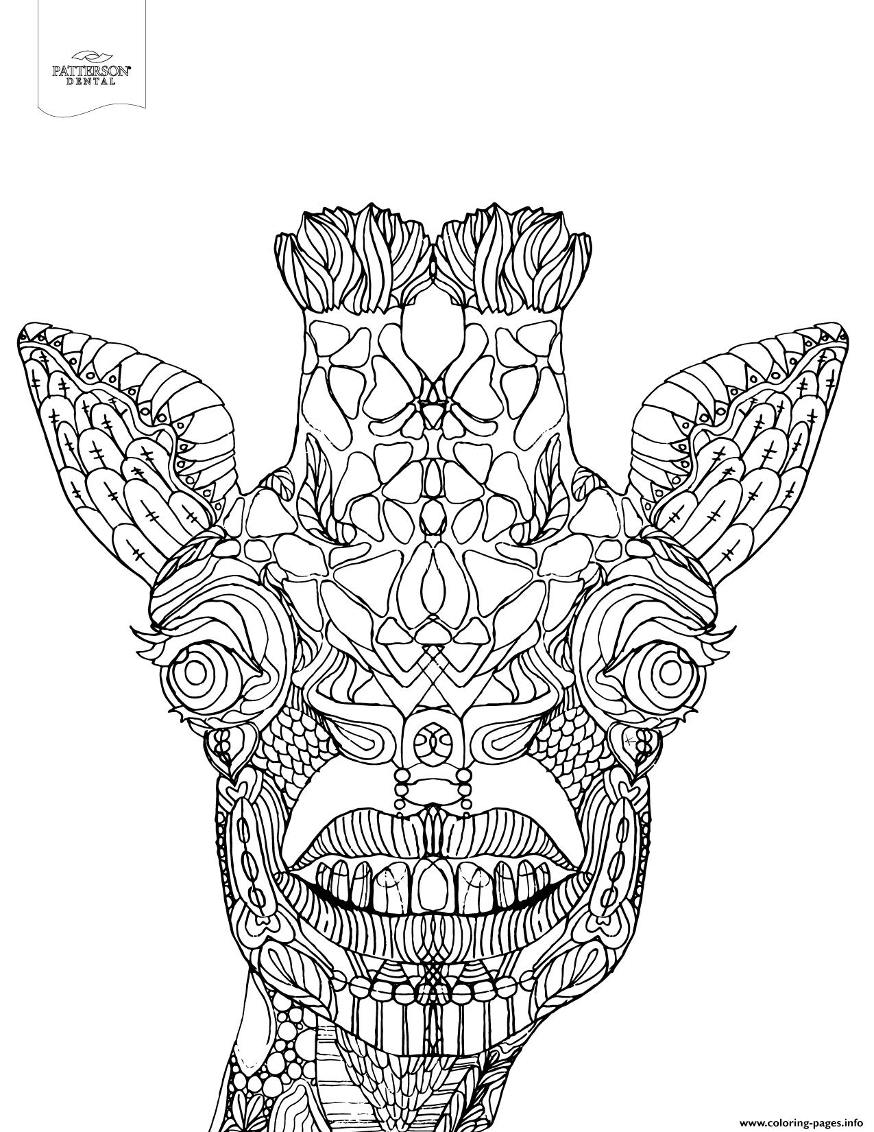 Advanced Toothy Giraffe Animal Coloring Pages Printable