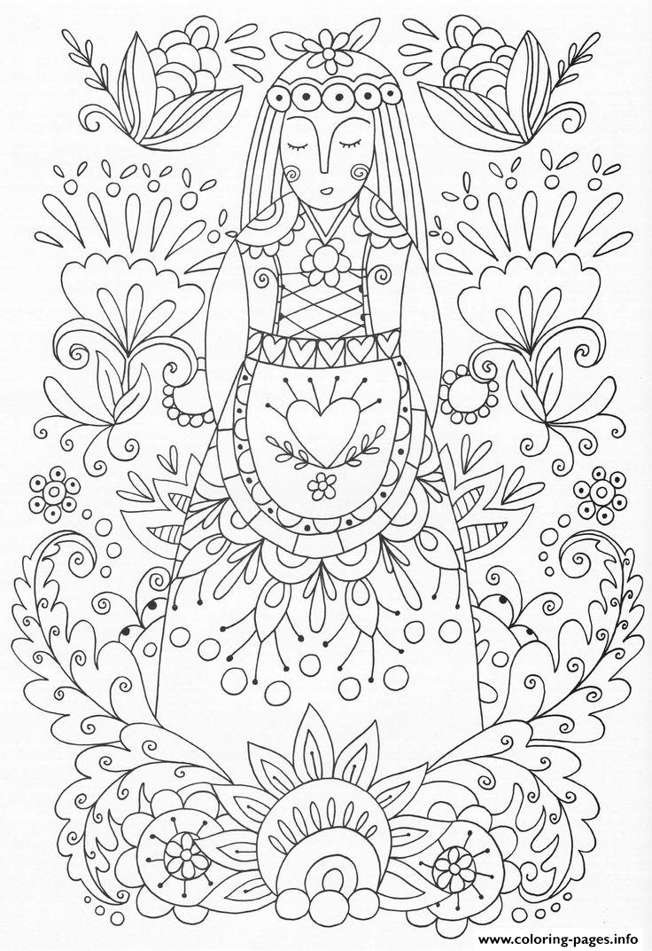 Advanced woman flowers adult zen yoga coloring pages printable