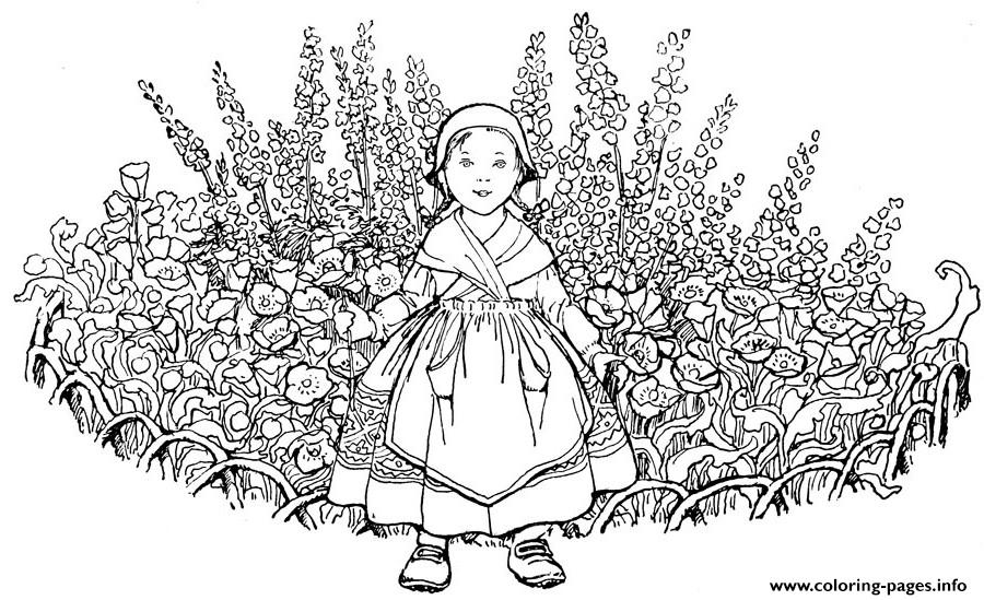 Advanced Kid With Flowers Hard Coloring Pages