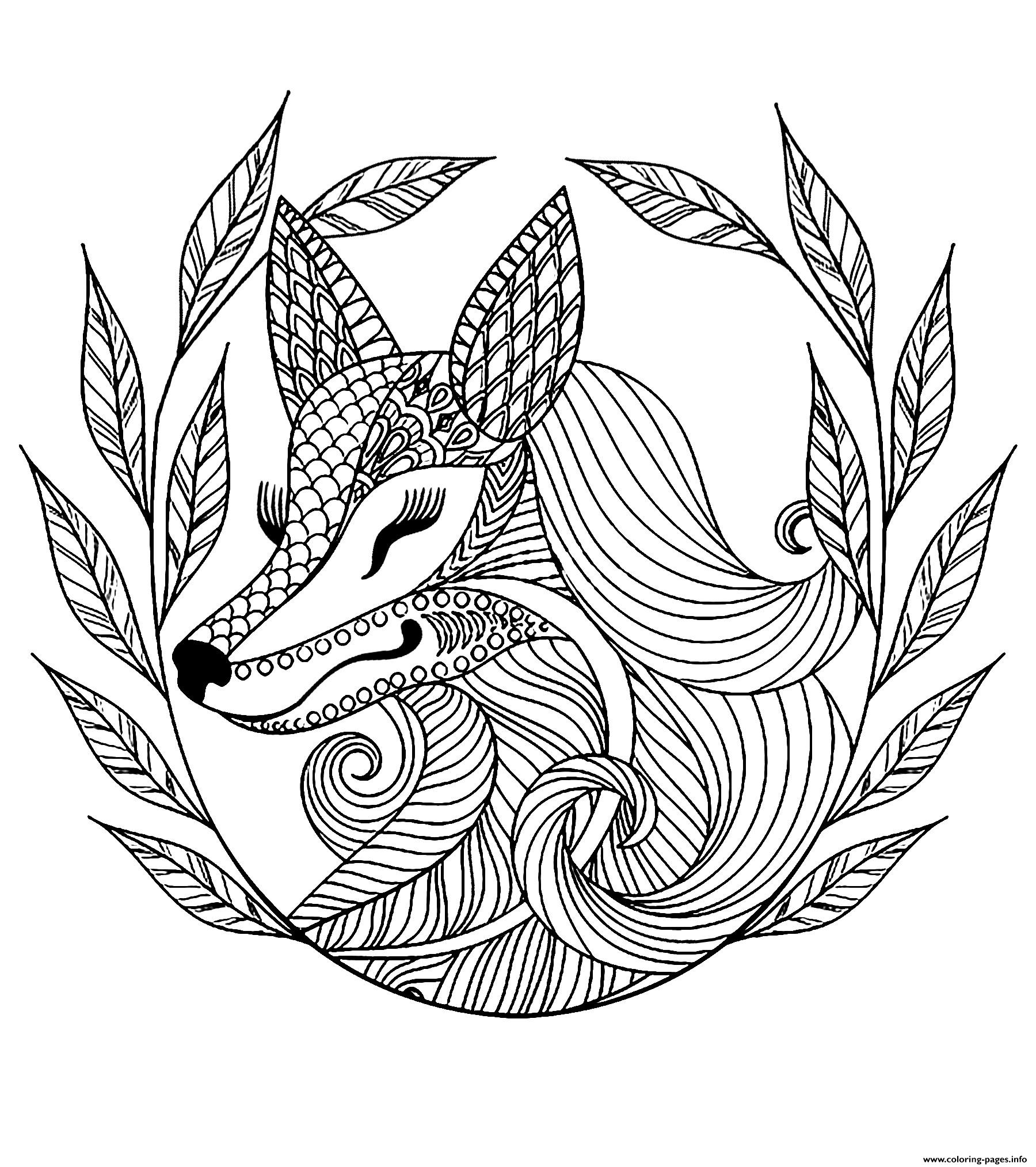 Advanced Fox And Leaves coloring pages