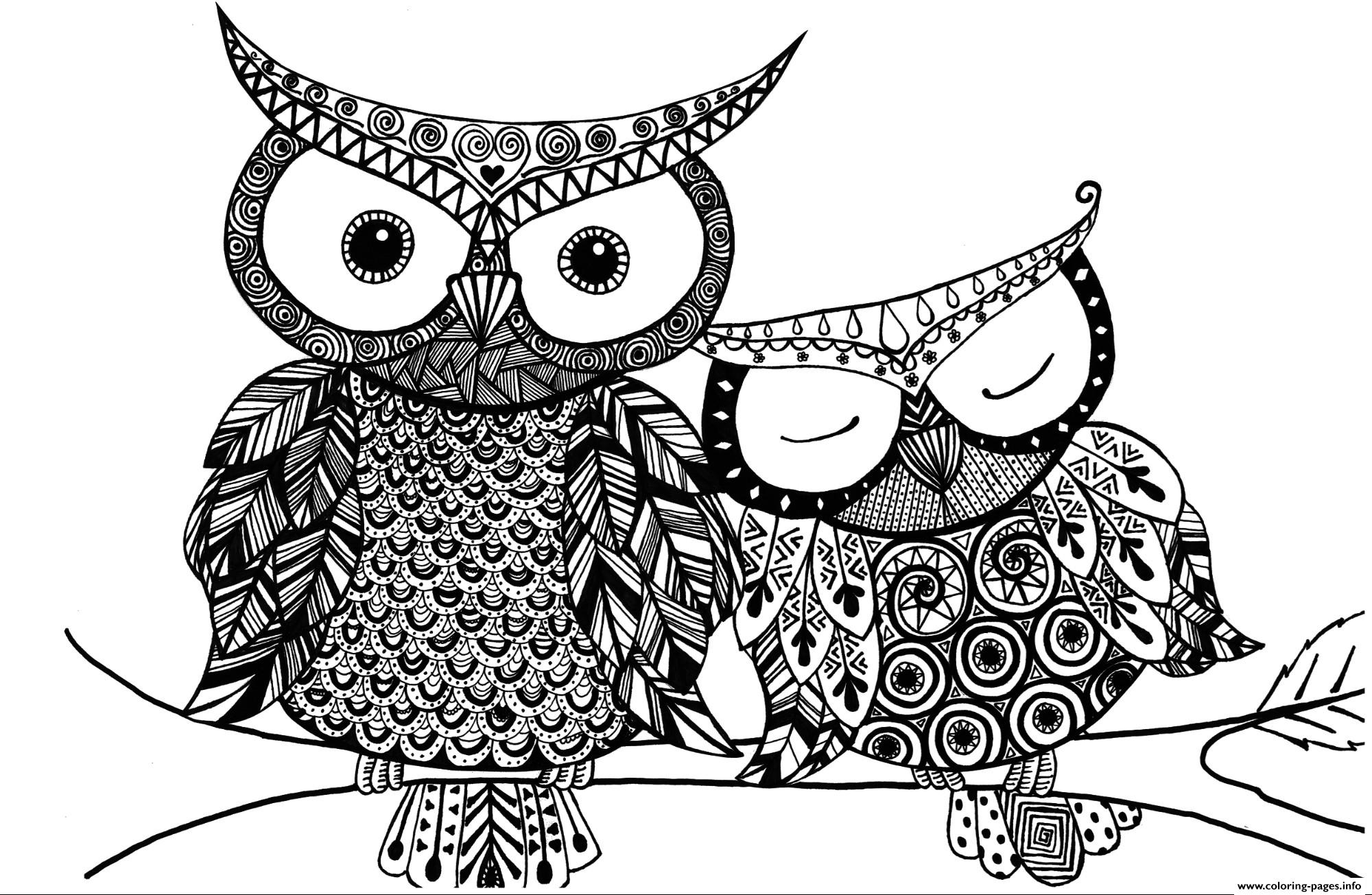 Advanced Adult Owl Coloring Pages Printable