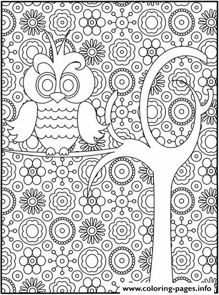 Simple And Hard Owl For Adults coloring pages