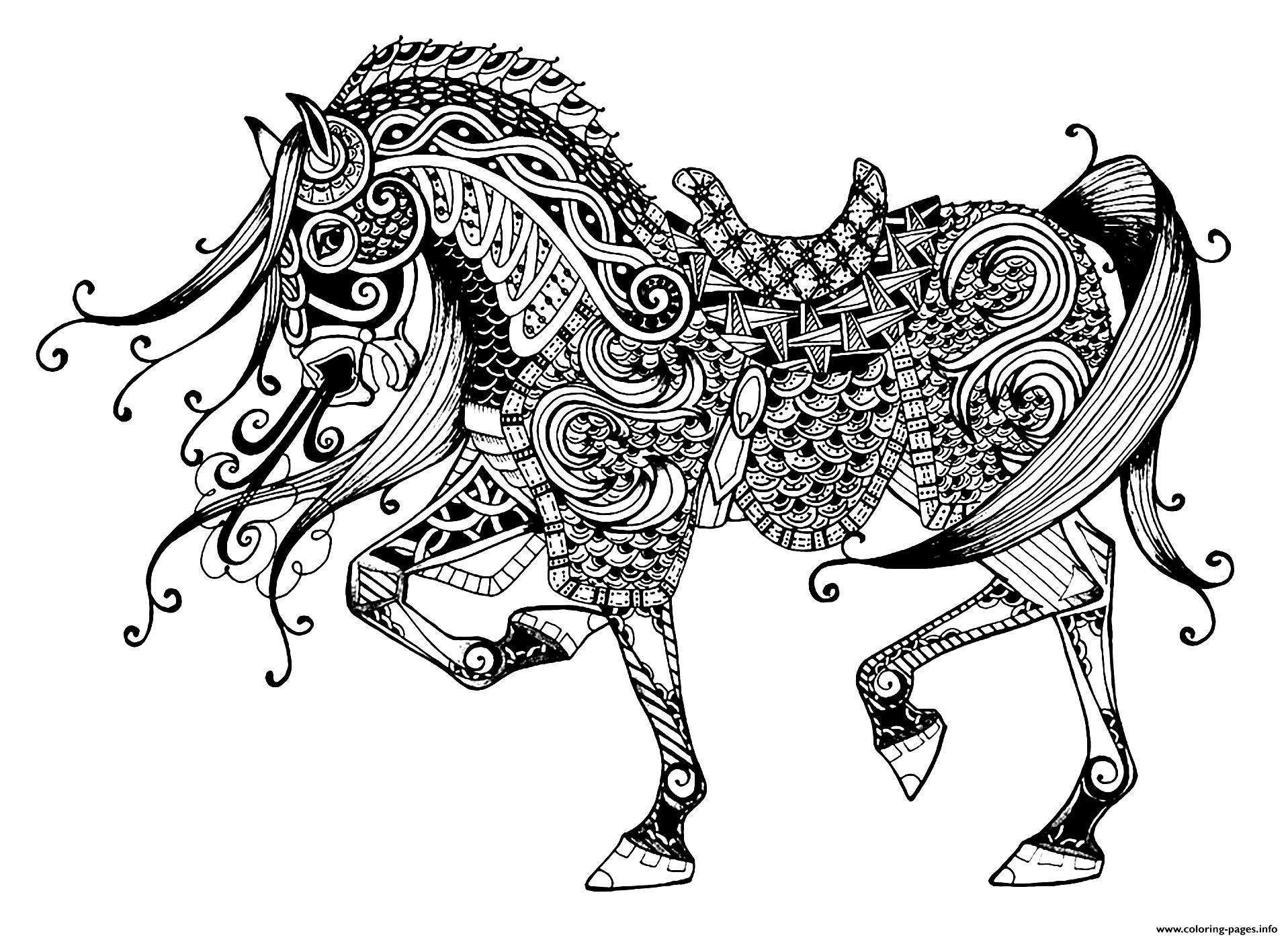 Advanced Coloring Pages Of Horses : Advanced majestic horse coloring pages printable