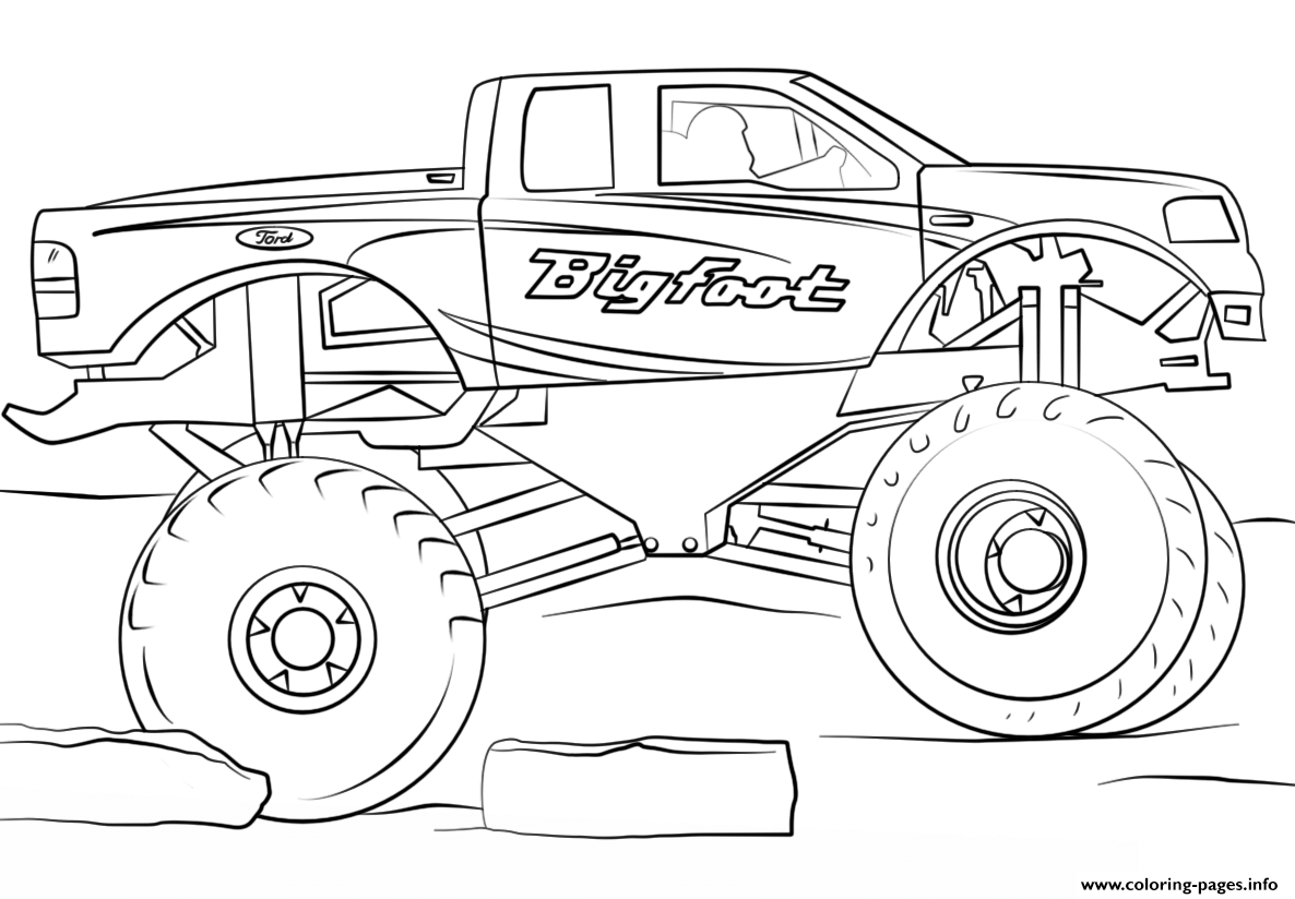 Bigfoot Monster Truck Cool Coloring Pages Printable