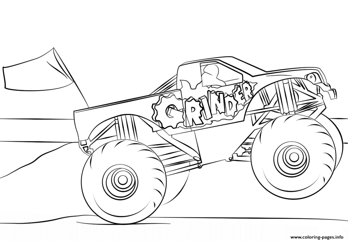 grinder monster truck coloring page coloring pages - Monster Truck Coloring Page