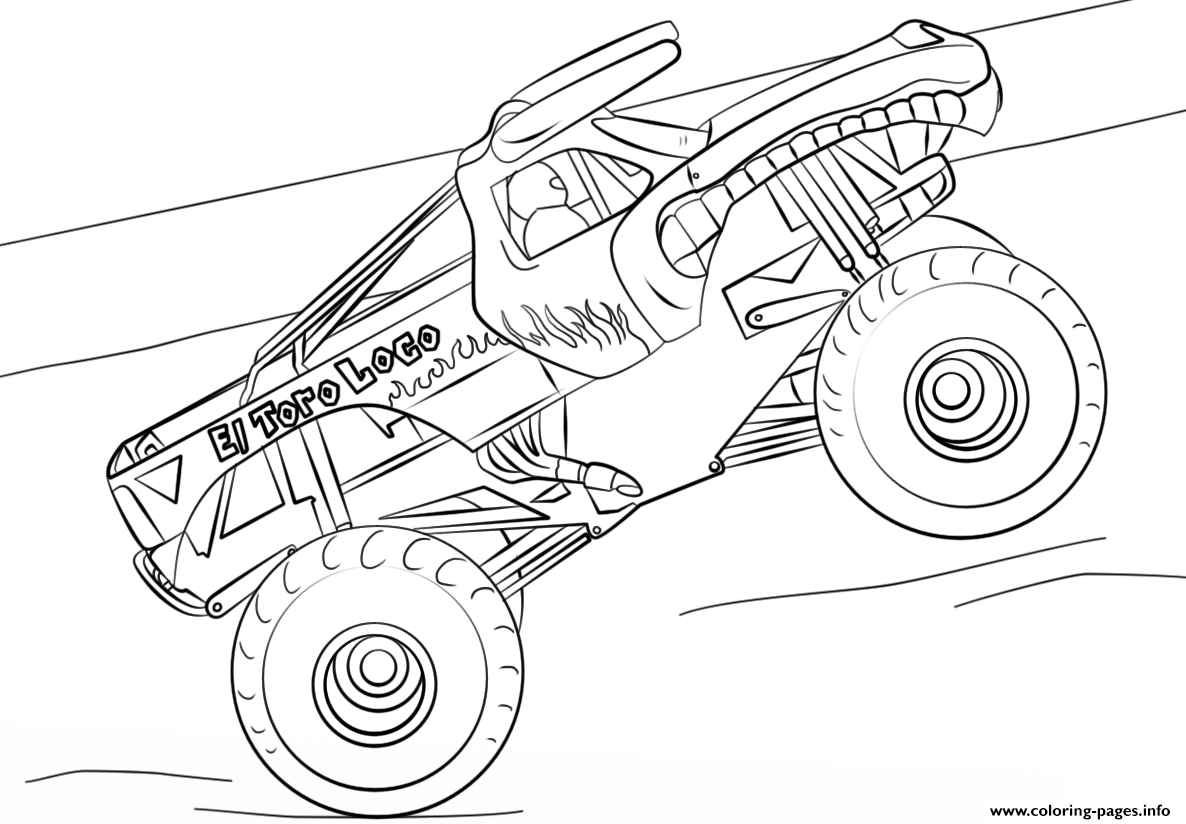 el toro loco monster truck coloring pages printable