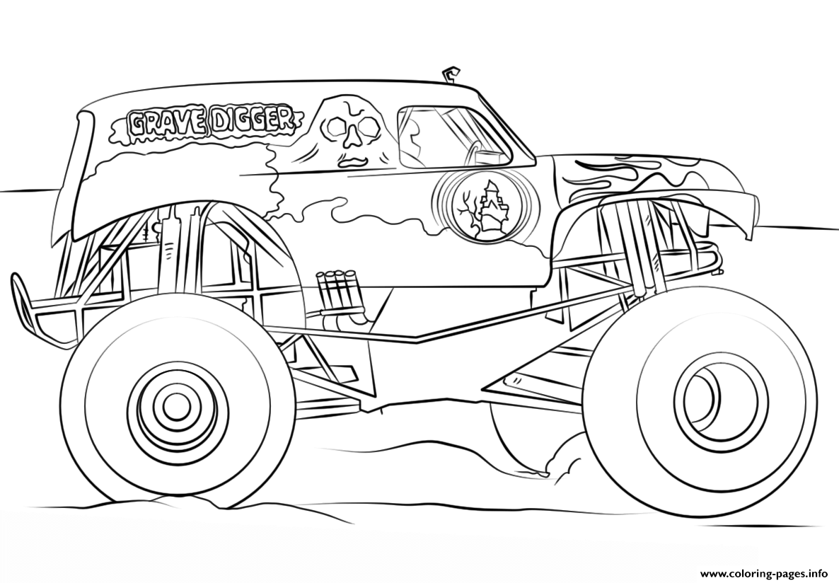 Grave Digger Monster Truck Bigfoot coloring pages
