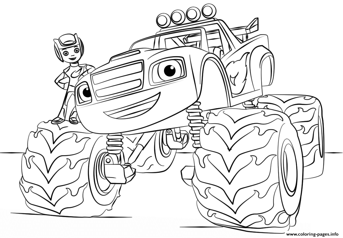Blaze Monster Truck For Kids Coloring Pages Printable