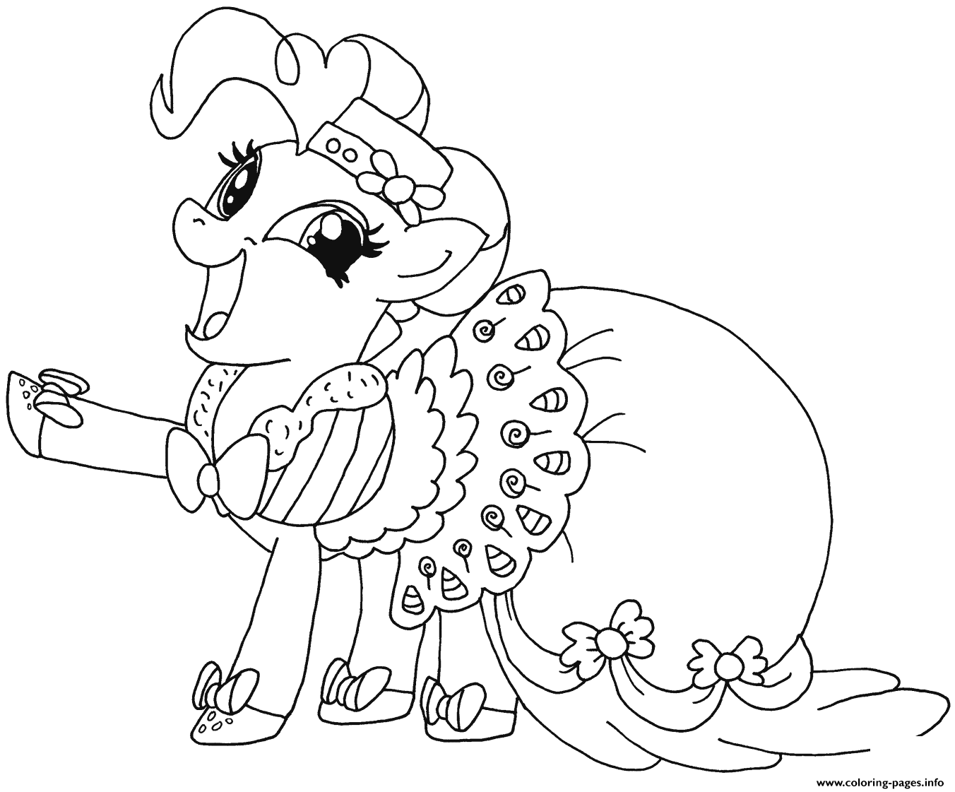 happy pinkie pie my little pony coloring pages printable