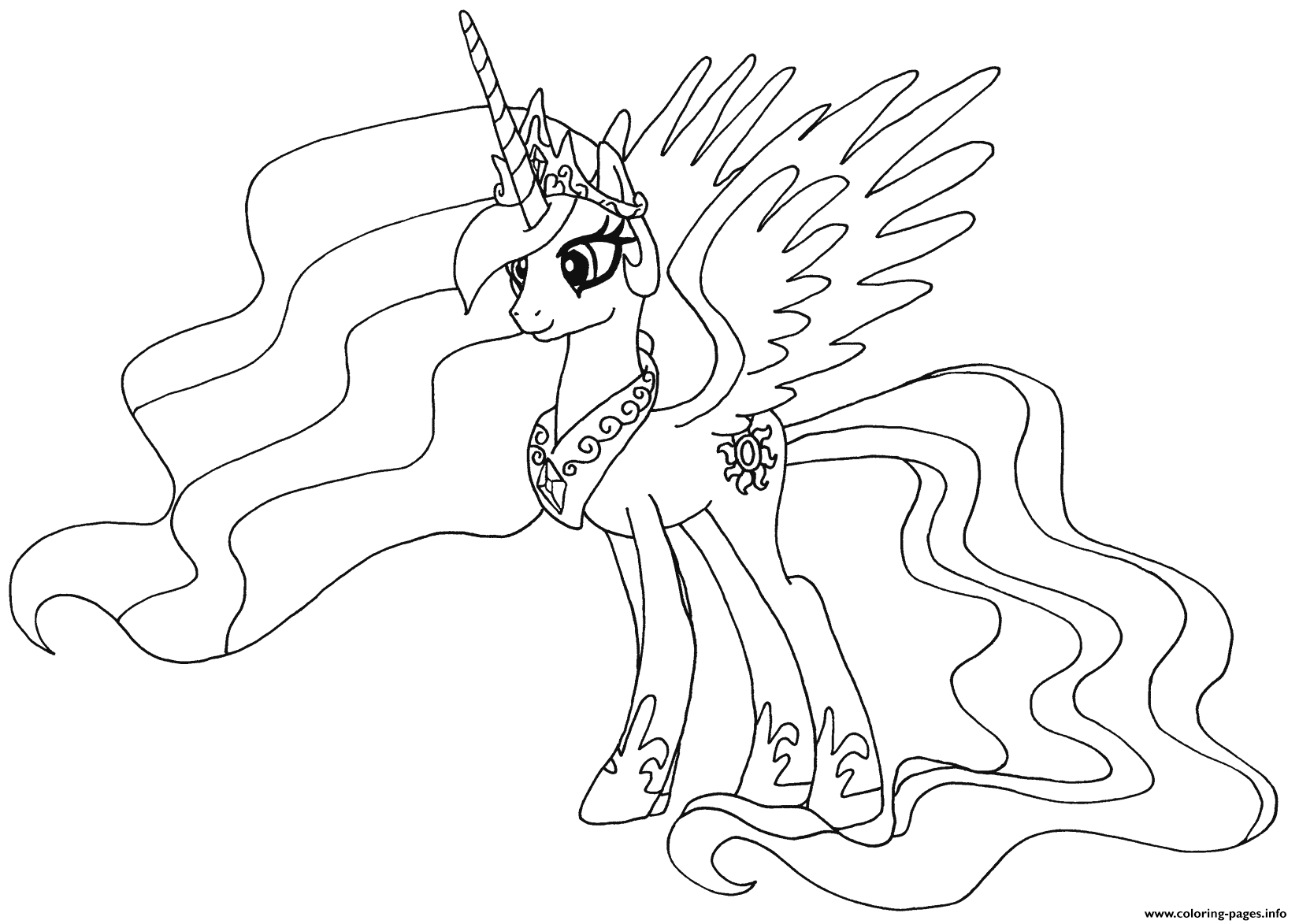 Princess Celestia My Little Pony Coloring Pages Printable