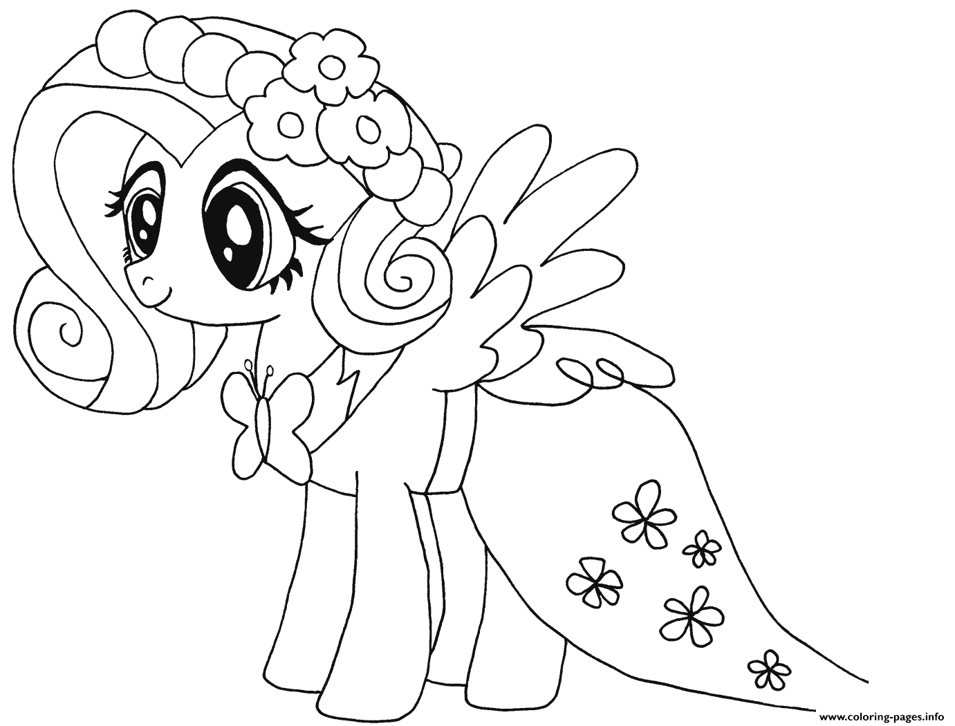 Cute Fluttershy My Little Pony Coloring Pages Printable
