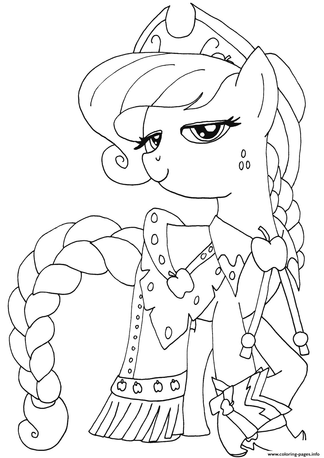 Princess Applejack My Little Pony Coloring Pages Printable