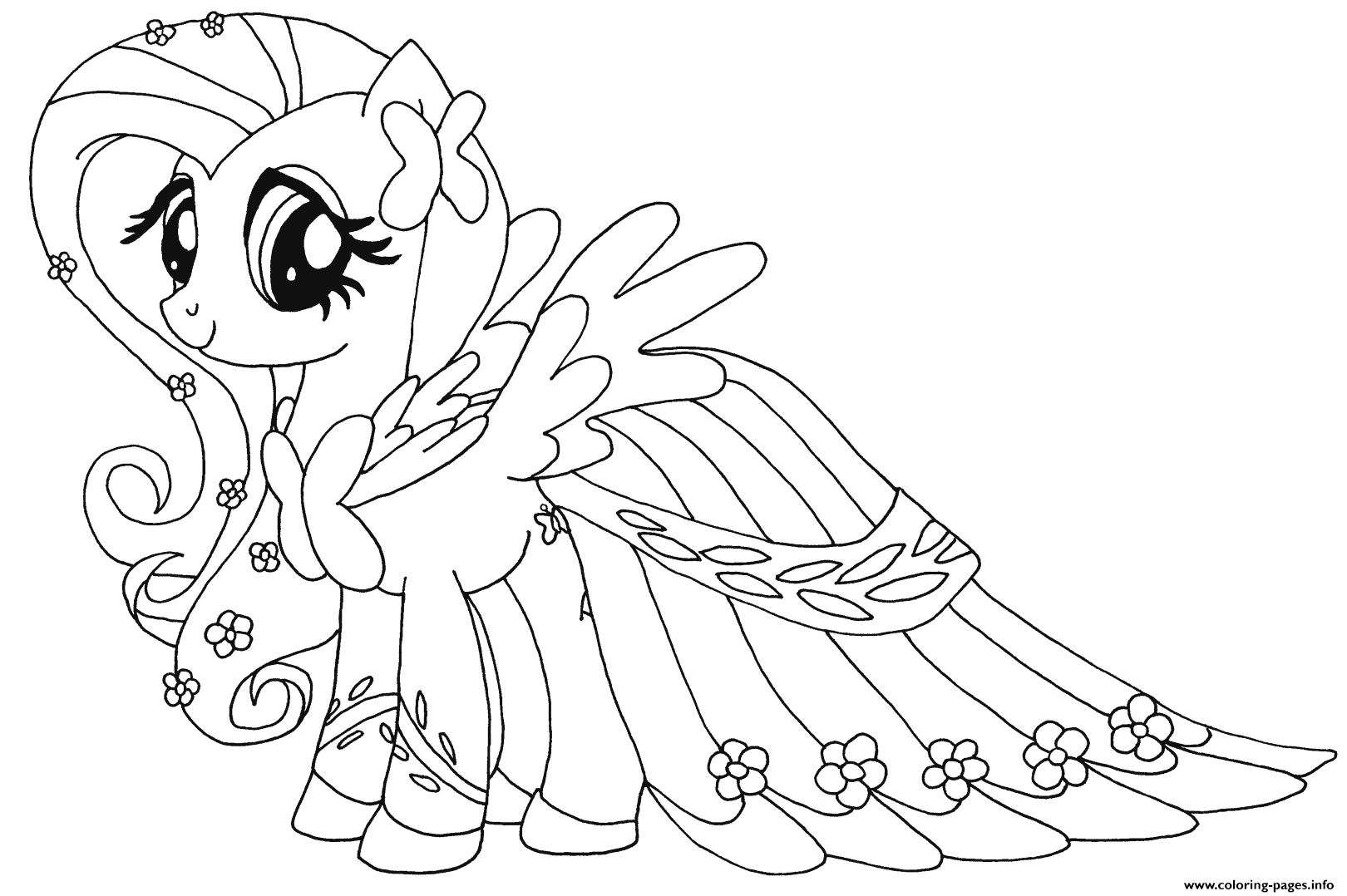 Fluttershy my little pony coloring pages printable for Pony coloring pages online