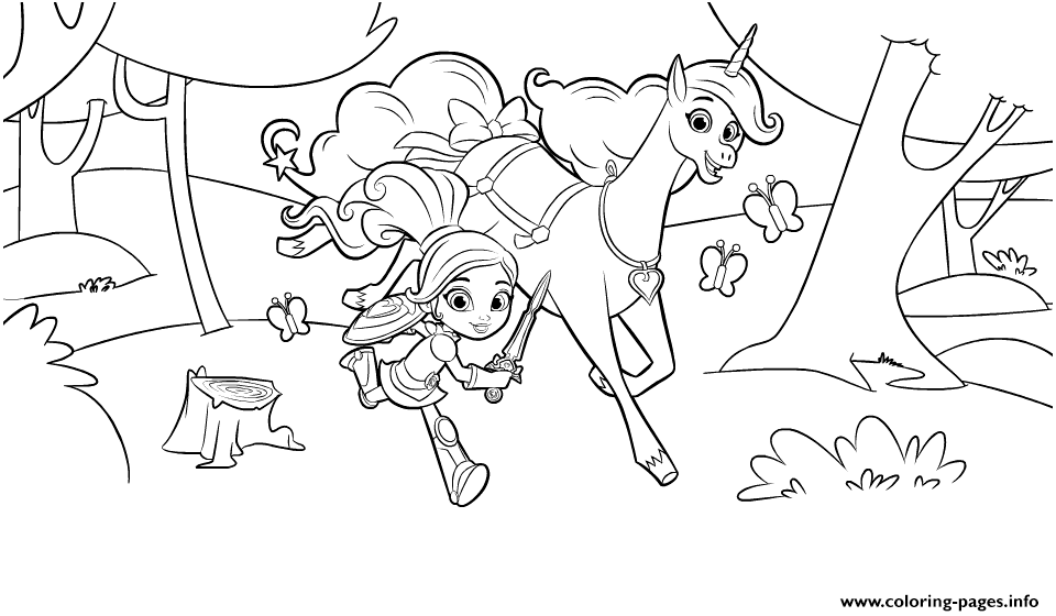 Nella The Princess Knight And Unicorn In Forest Coloring Pages Printable